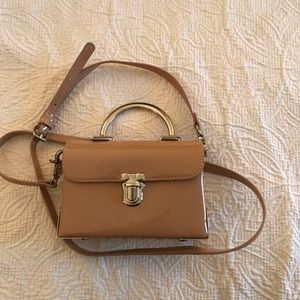 Camel patent mini purse with adjustable strap